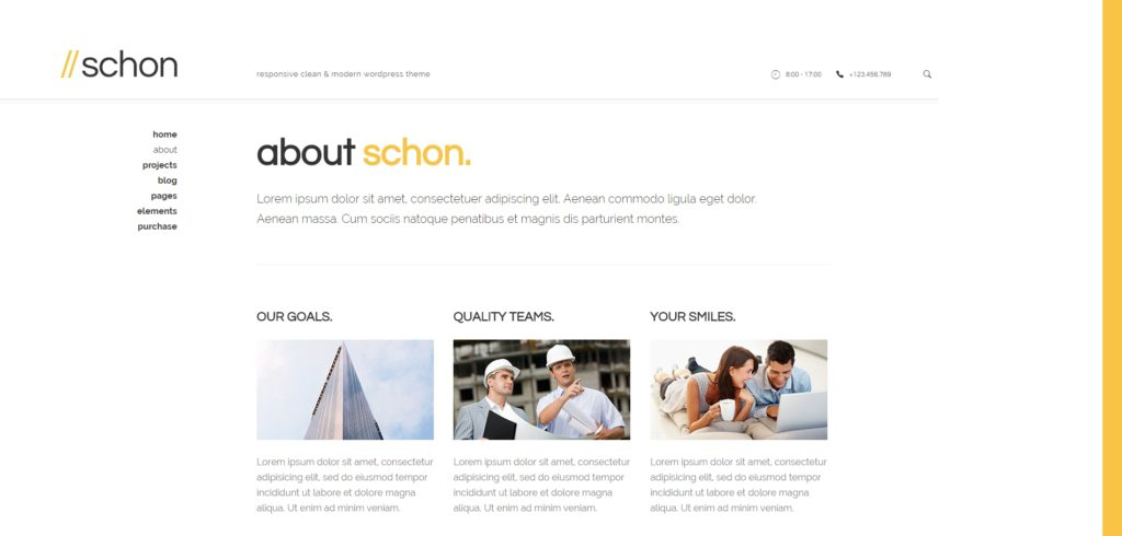 The About page of the Schon theme