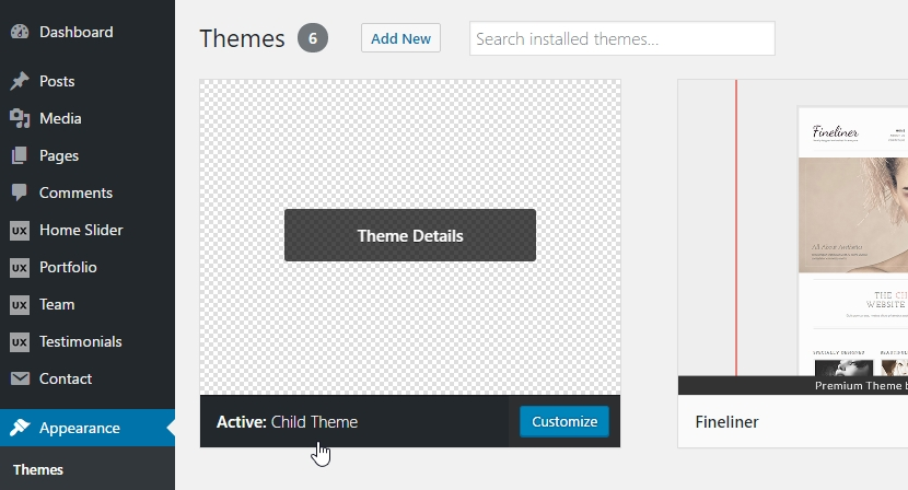 The created child theme will be available on the Themes page.
